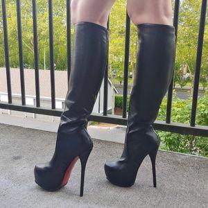 LuxLea Knee High Vegan Leather Heeled Boots